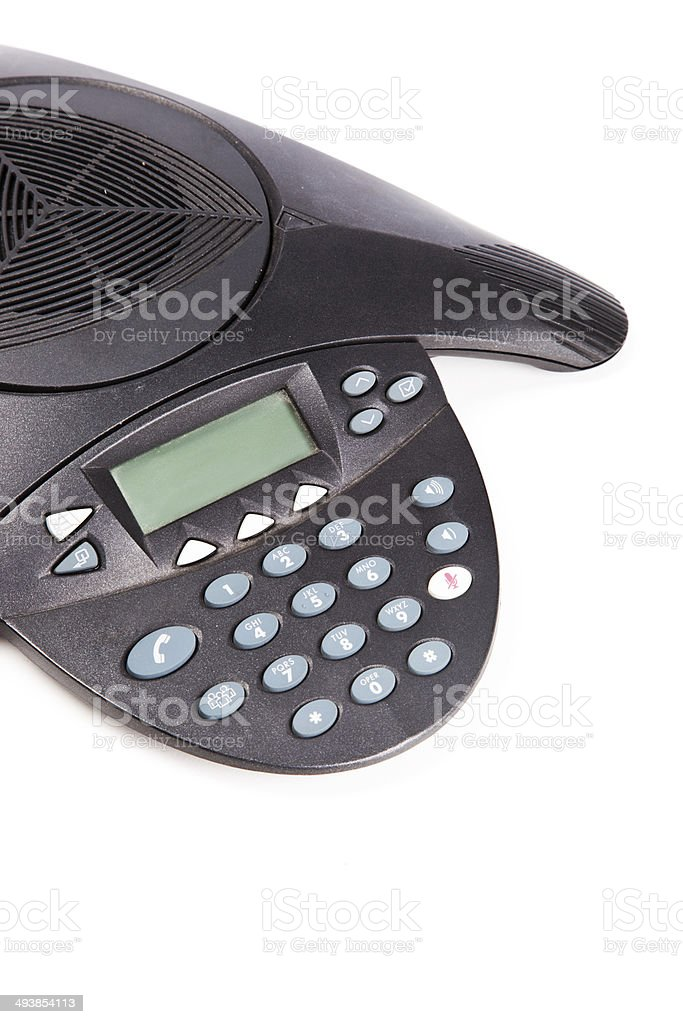 Conference phone over white background royalty-free stock photo