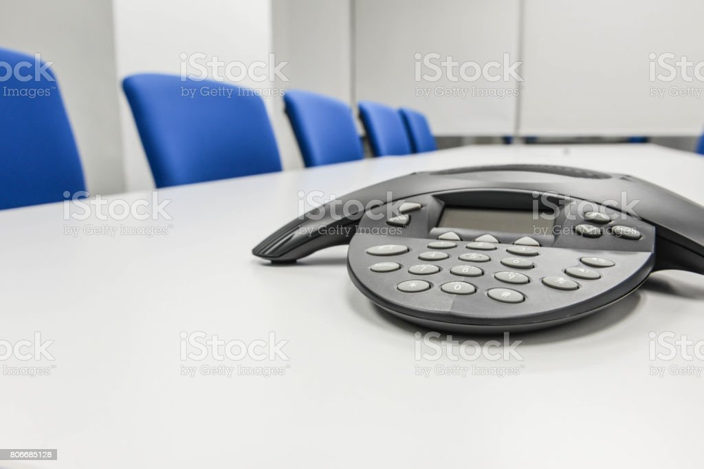 IP conference phone the the meeting room stock photo