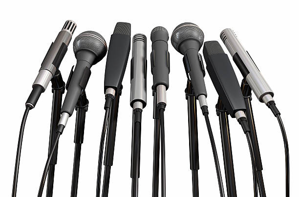 Conference 8 microphones ready for your audience. press conference stock pictures, royalty-free photos & images