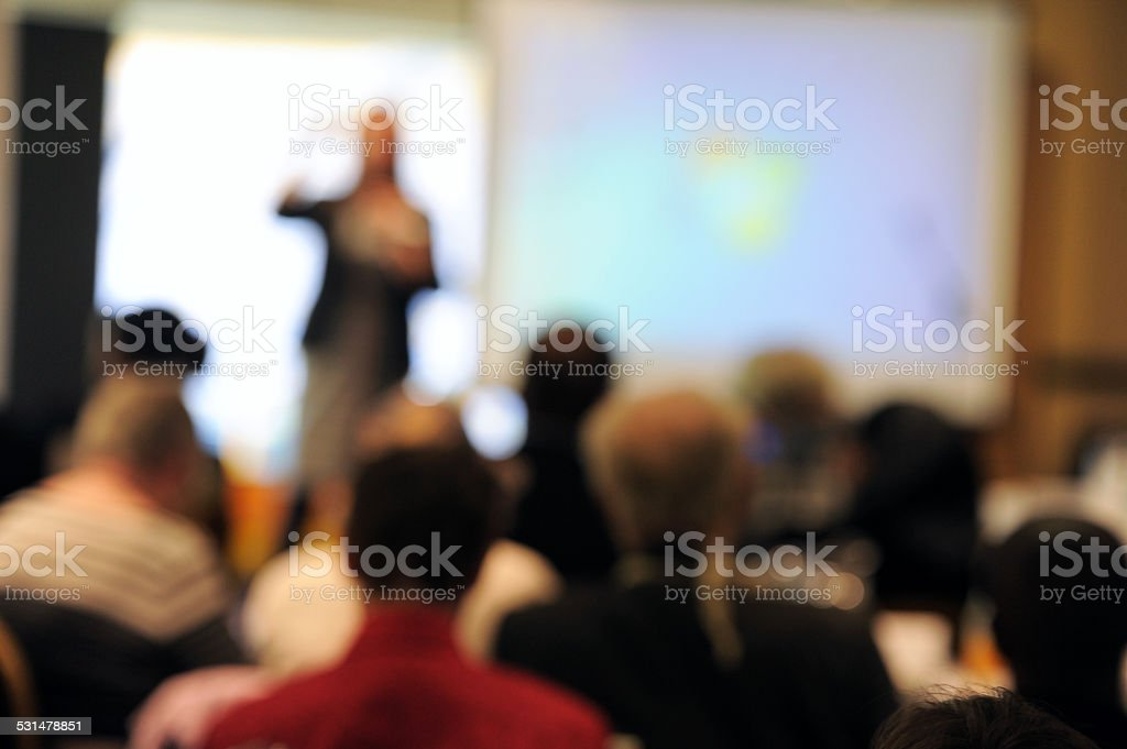 Conference Presenter & Audience - Stock Photo stock photo
