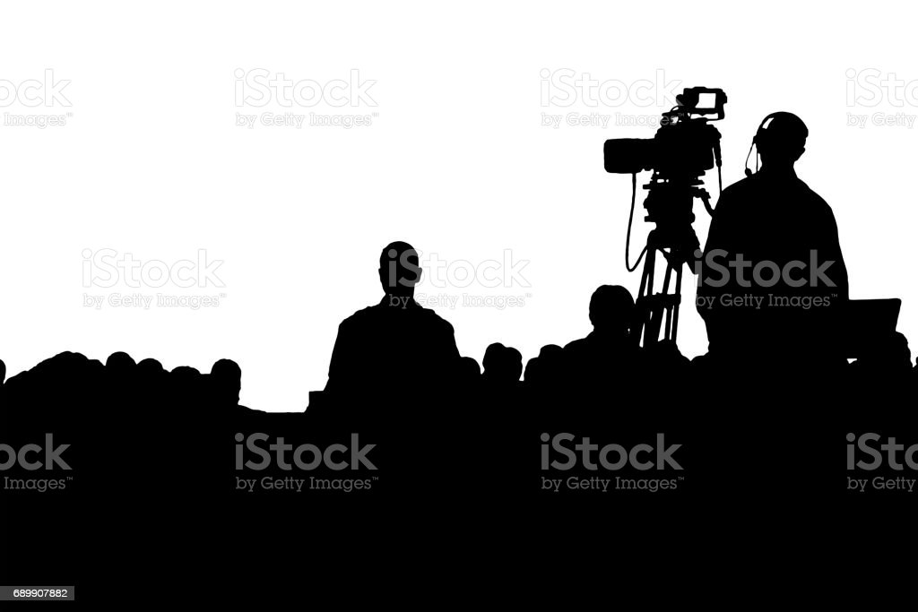 Conference production cameraman silhouette stock photo
