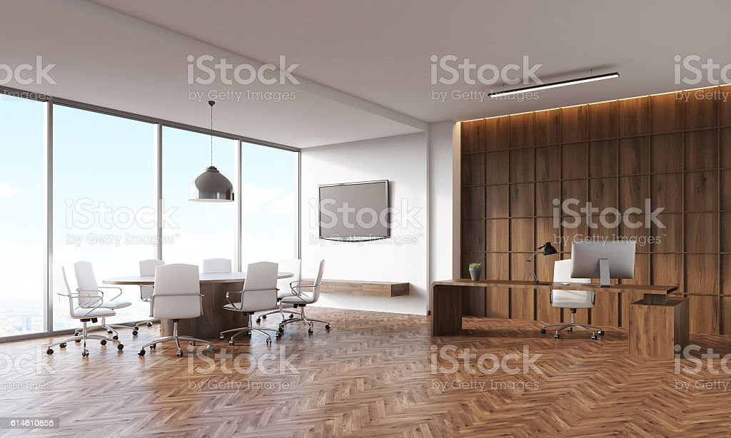 Conference room and CEO table stock photo