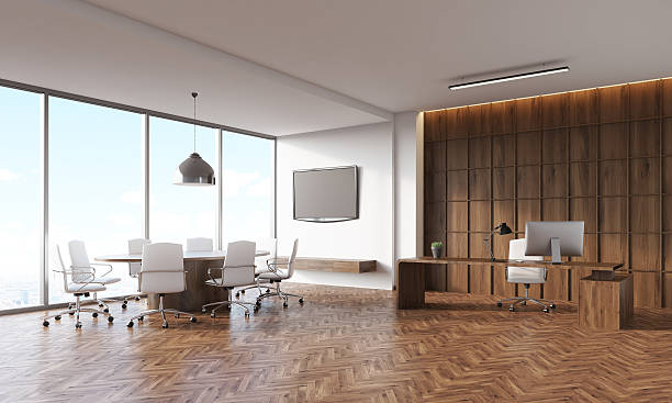 conference room and ceo table - arbeitszimmer möbel stock-fotos und bilder