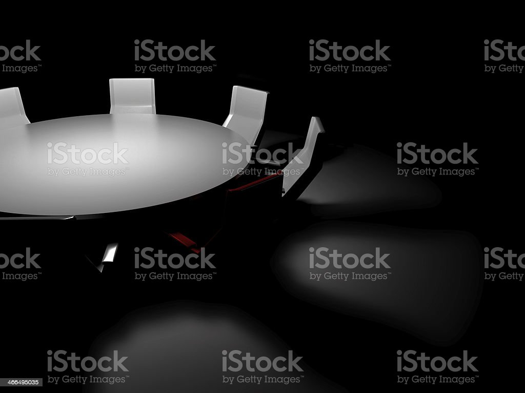 Conference room by night Board room, empty and customizable; dark scene. Armchair Stock Photo