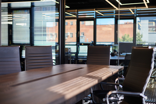 Conference room in office. Modern meeting room for business negotiations and business meetings. Boardroom