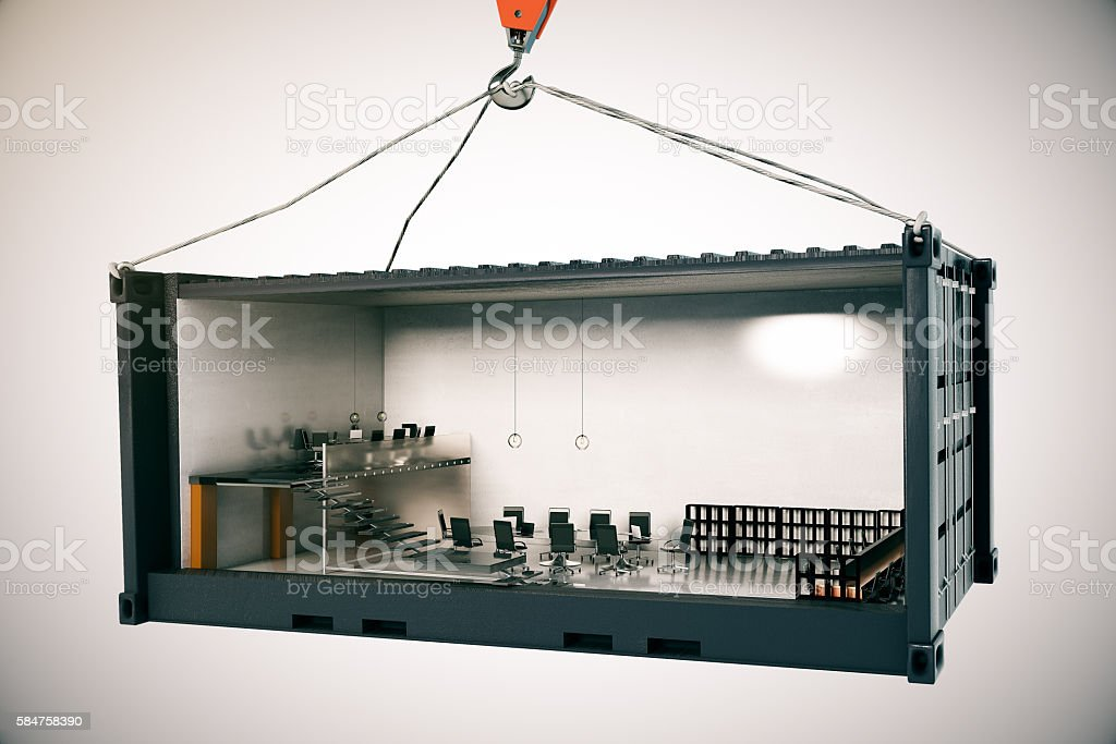 Conference room inside cargo stock photo
