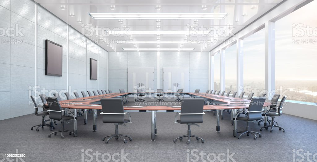 Conference room interior. 3d illustration stock photo