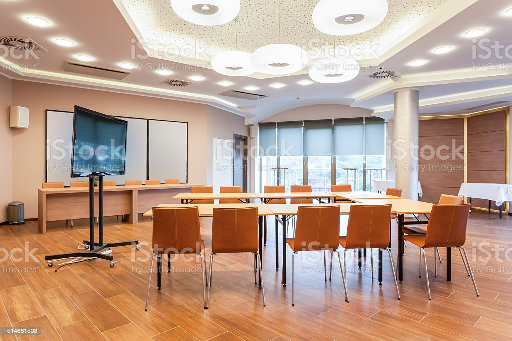 Conference room interior with big LCD screen stock photo
