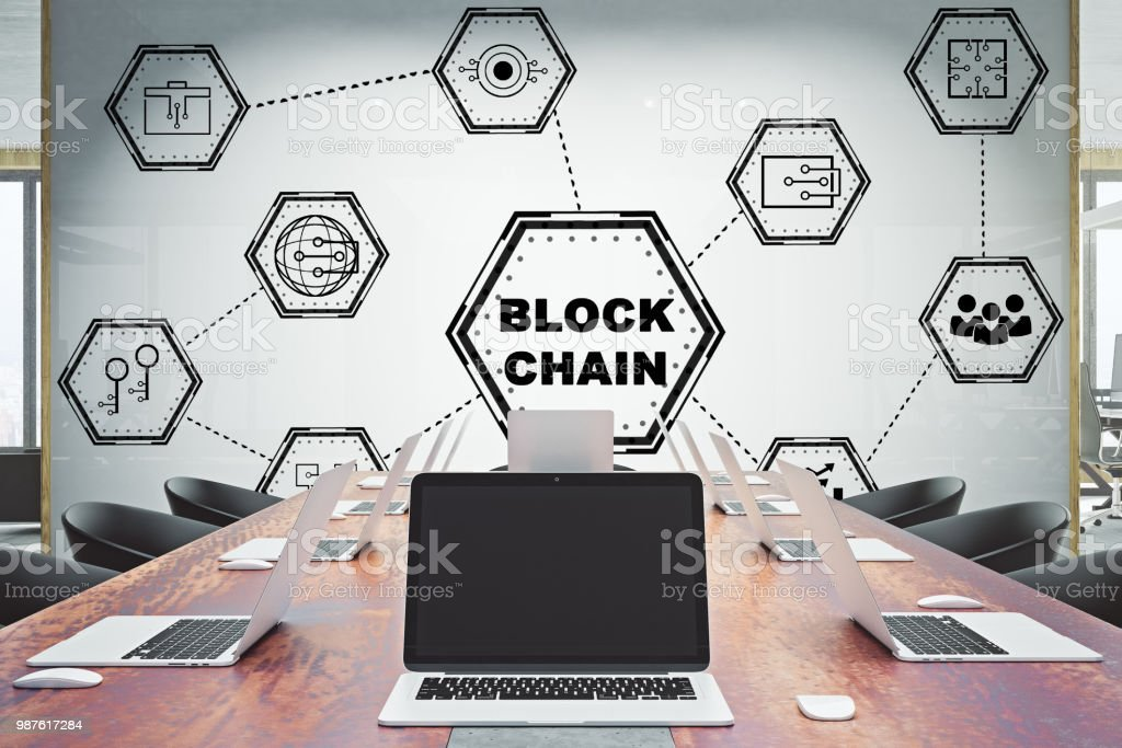 Konferenzraum mit Blockchain Skizze – Foto