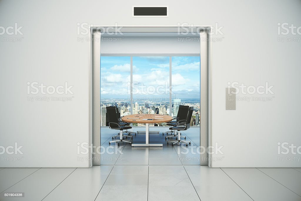 Conference room with city view is appeared stock photo