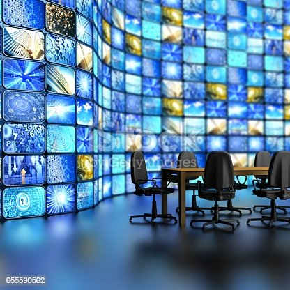 istock conference room with curved wall fool of tv screens 655590562