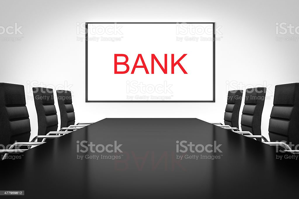 conference room with desk whiteboard bank stock photo