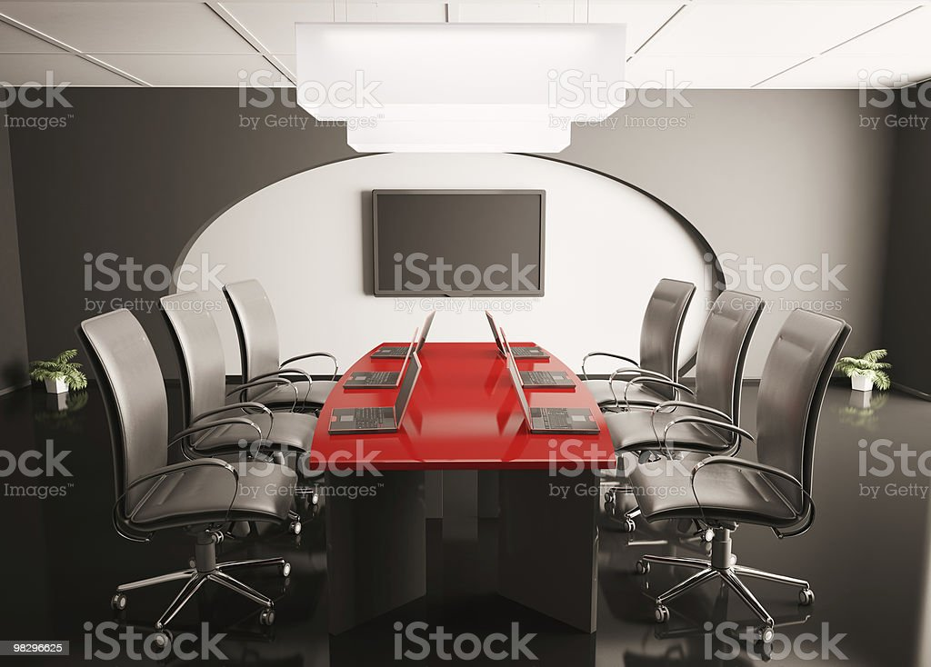 conference room with lcd and laptops 3d royalty-free stock photo