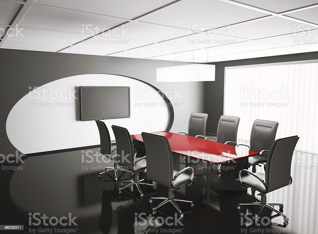 conference room with lcd and red table 3d royalty-free stock photo