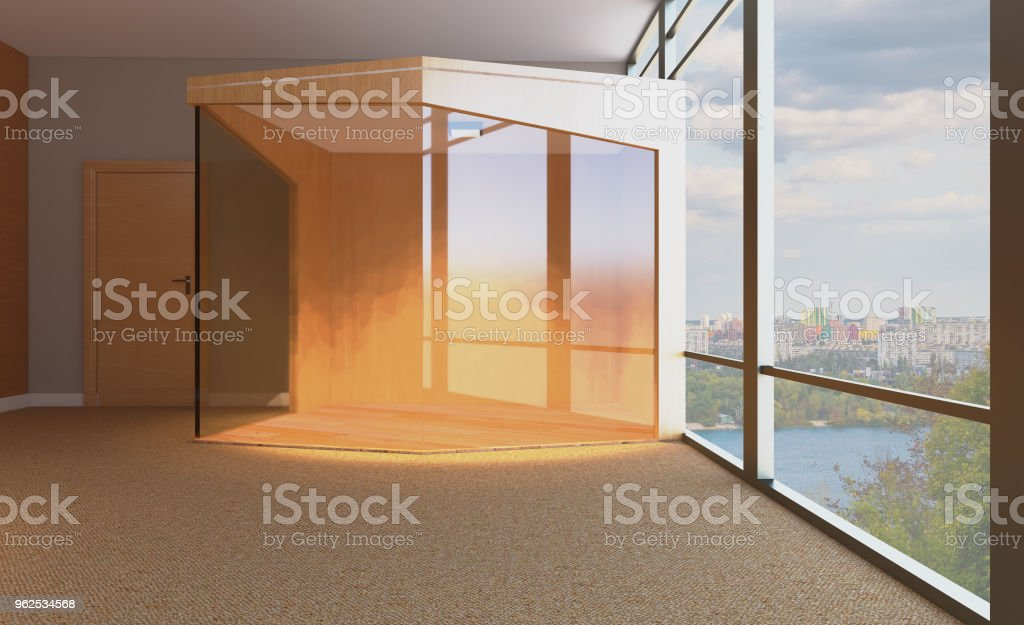Sala de reuniões com mesa de madeira. Renderização 3D. - Foto de stock de Cadeira royalty-free