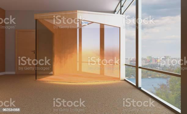 Foto de Sala De Reuniões Com Mesa De Madeira Renderização 3d e mais fotos de stock de Cadeira