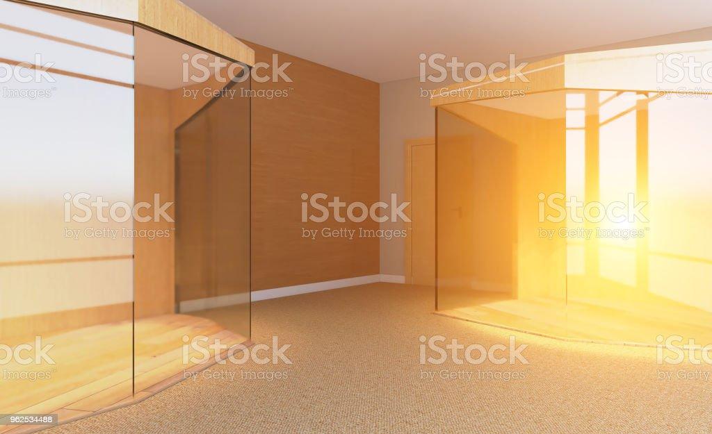 Sala de reuniões com mesa de madeira. Renderização em 3D... Pôr do sol - Foto de stock de Brilhante - Luminosidade royalty-free