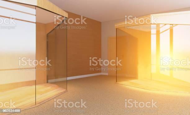 Foto de Sala De Reuniões Com Mesa De Madeira Renderização Em 3d Pôr Do Sol e mais fotos de stock de Brilhante - Luminosidade