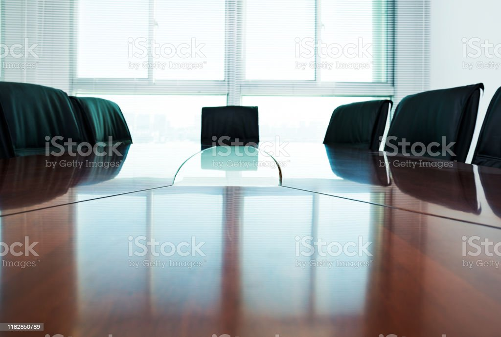 Conference table and chairs in the board room.
