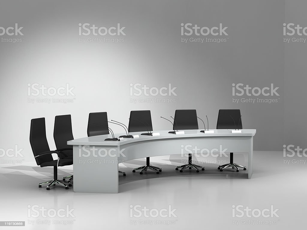 conference table and chairs with microphones royalty-free stock photo