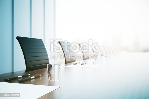 Close of up table with equipment in conference room. 3D Rendering