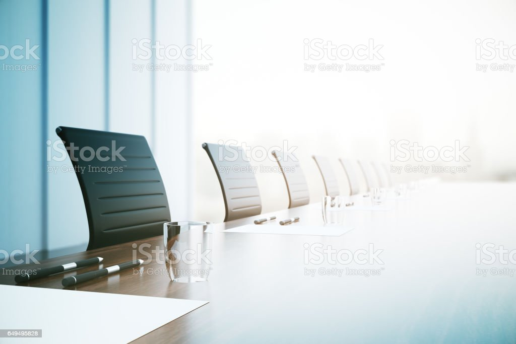 Conference table closeup stock photo
