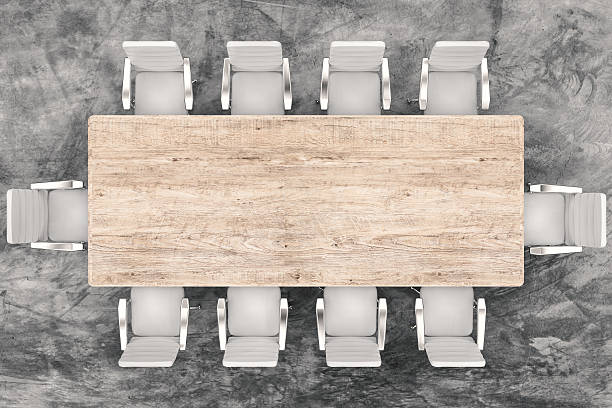 conference table top view empty conference table and office chairs empty desk stock pictures, royalty-free photos & images