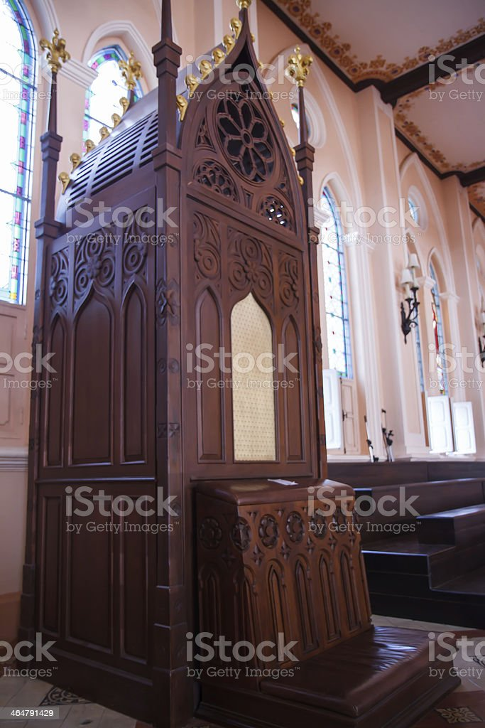 Confession in the church stock photo