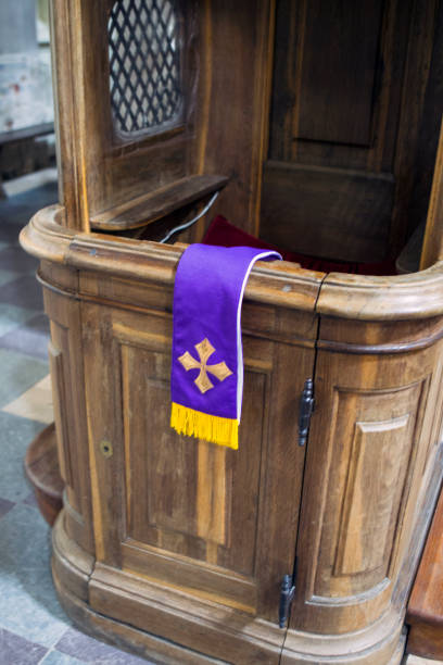 Confessional and stole stock photo