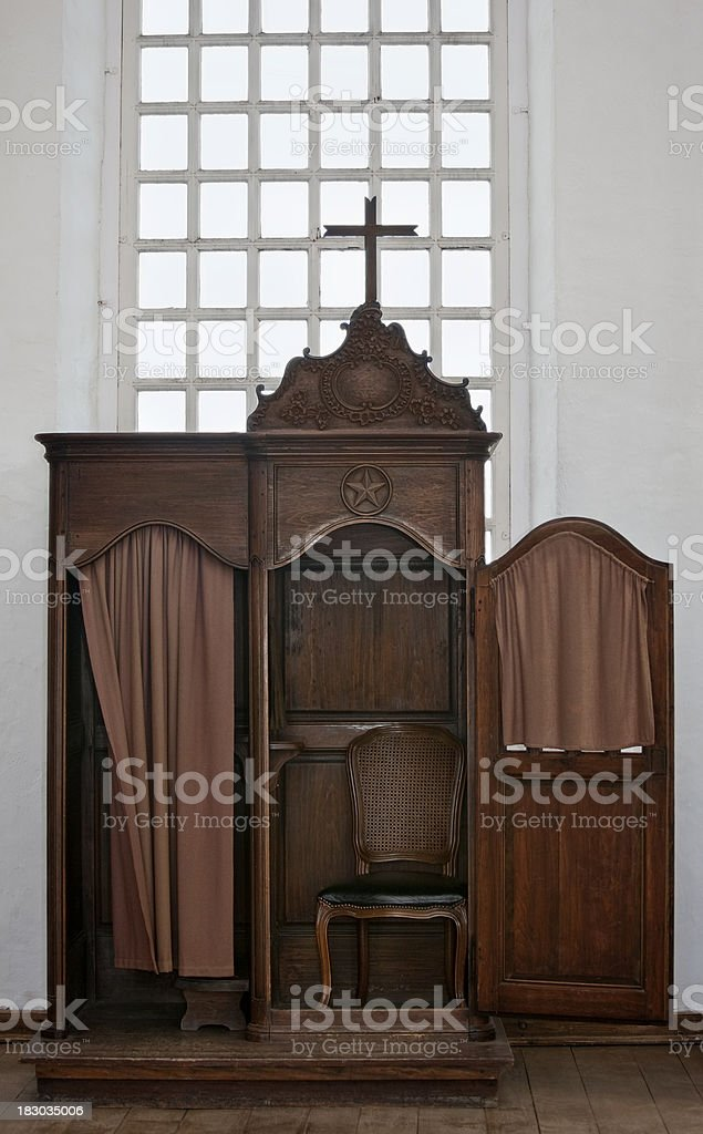 Confessional at Fort Louisburg, Nova Scotia stock photo