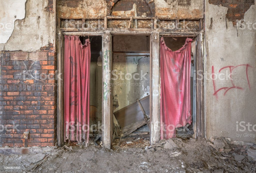 Confessional Booths in an abandoned church stock photo