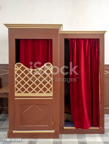 A Confessional Booth in a church in Tallinn, Estonia