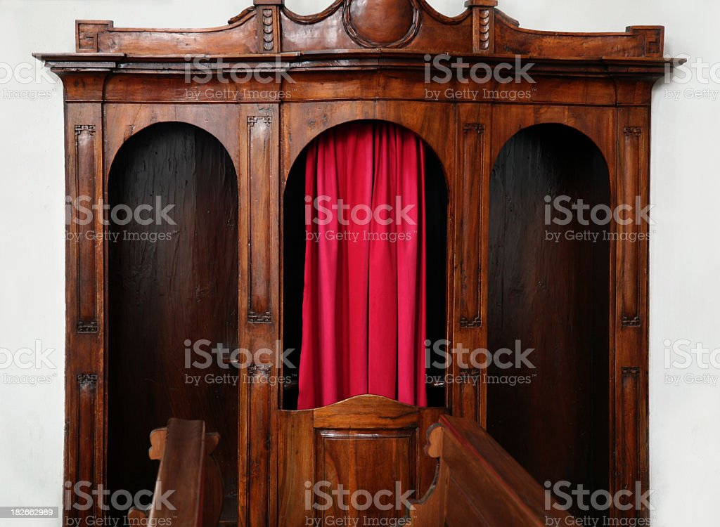 Confessional chair stock photo
