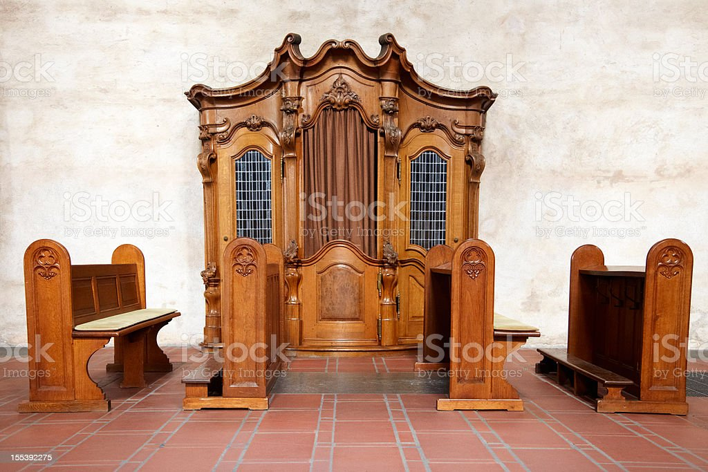 Confessional in a german church royalty-free stock photo