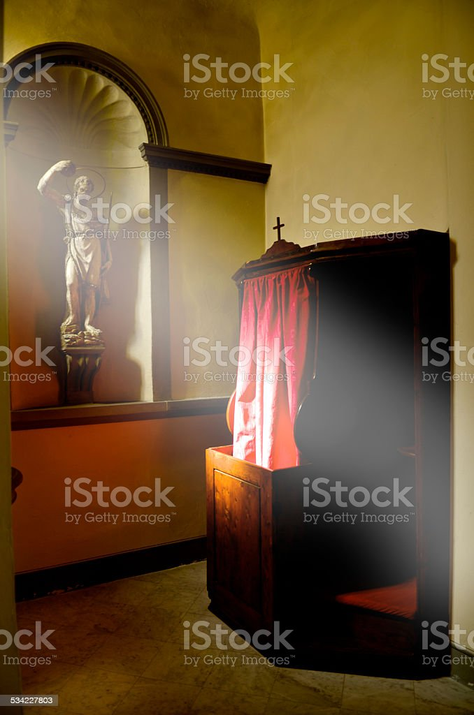 confessionals The Lord is listening stock photo
