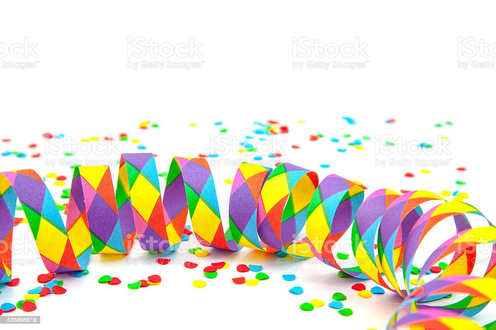 Confetti and party streamer stock photo