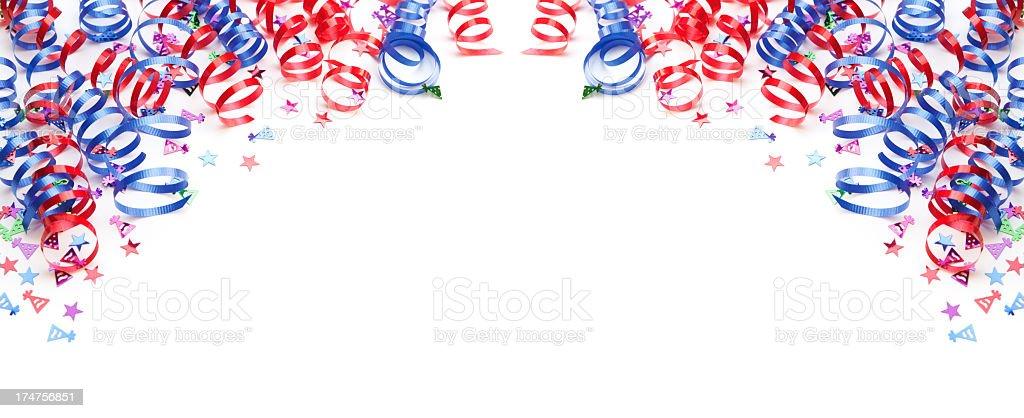 Confetti and ribbons border royalty-free stock photo