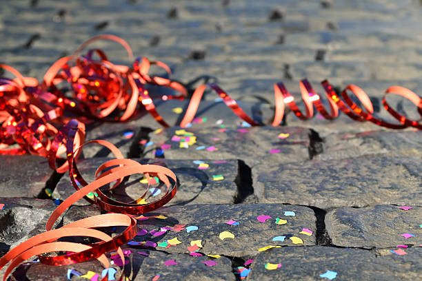 Confetti and Streamers Celebration - streamers and confetti on the ground prom night stock pictures, royalty-free photos & images