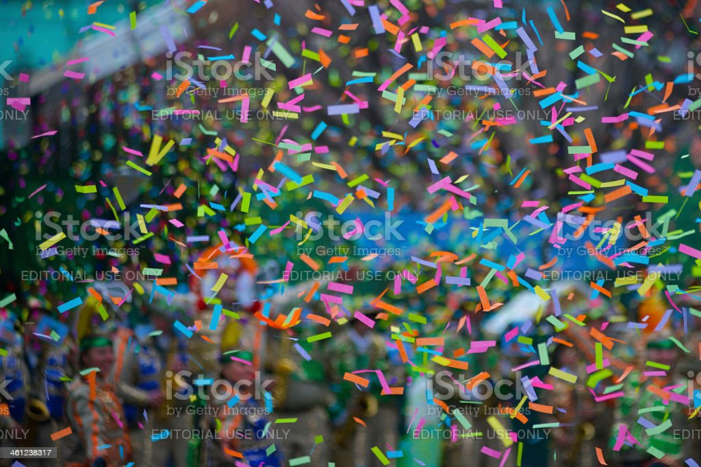 Confetti at New Years Day Parade stock photo