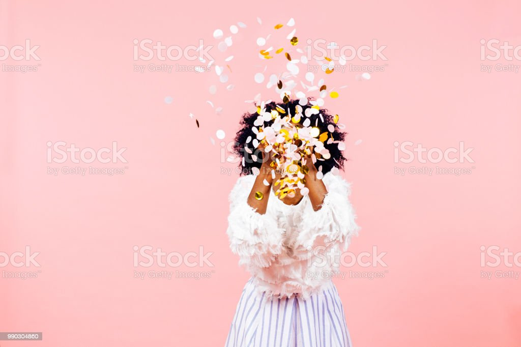 Confetti burst of happiness and success stock photo