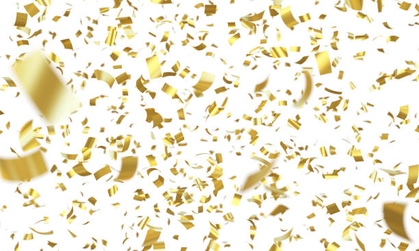 confetti gold - confetti stock pictures, royalty-free photos & images