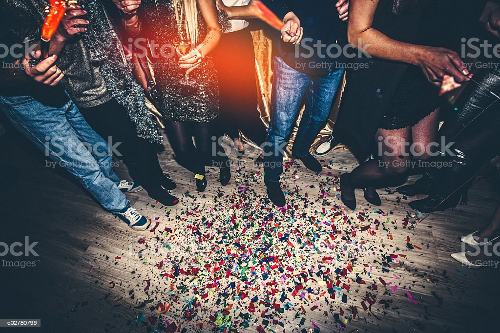 Confetti on a dance floor stock photo
