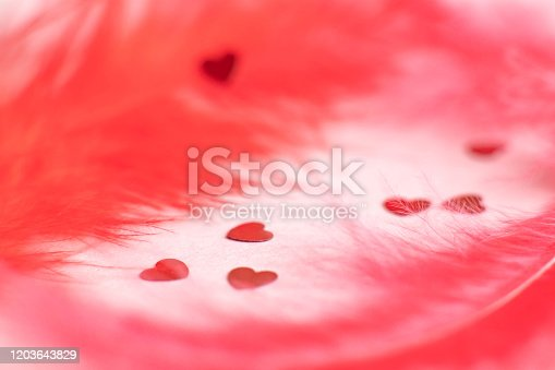 confetti on a pink background with red feathers