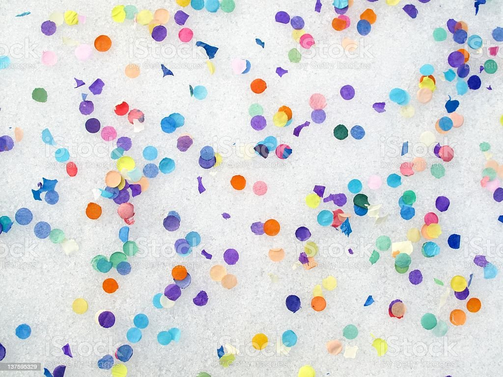 Confetti on snow royalty-free stock photo
