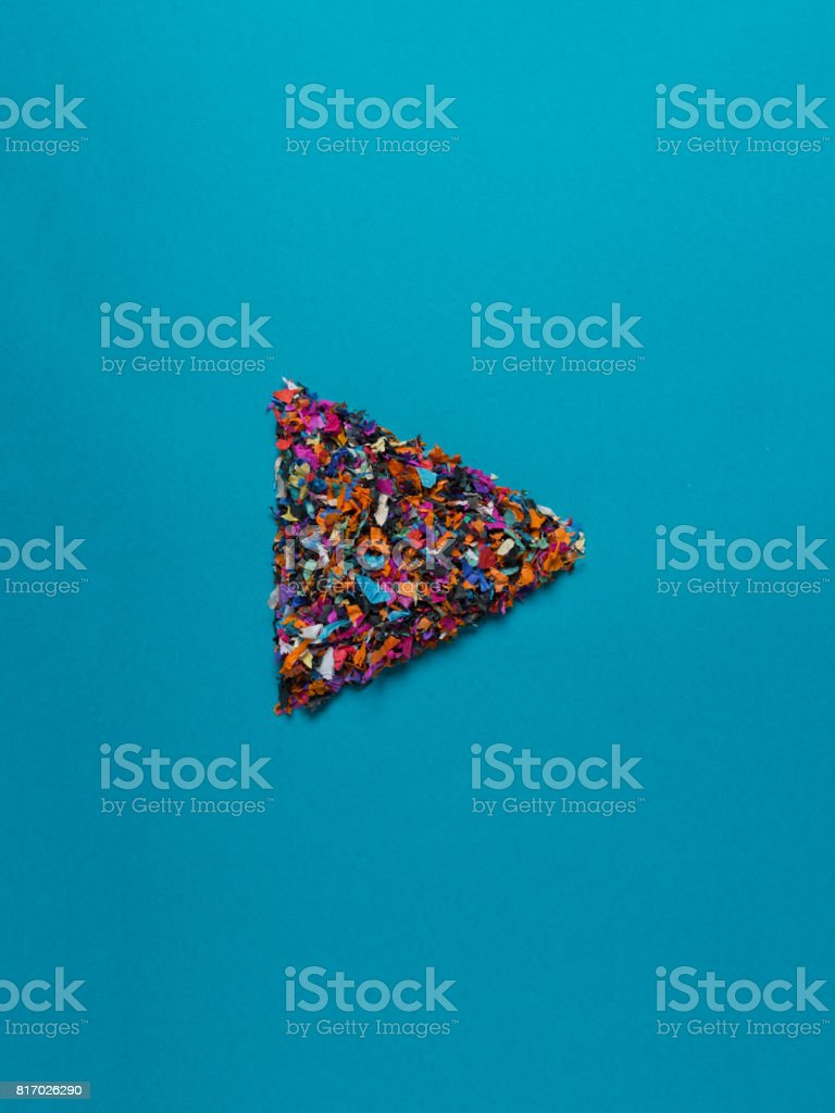 botón de play de confeti - foto de stock