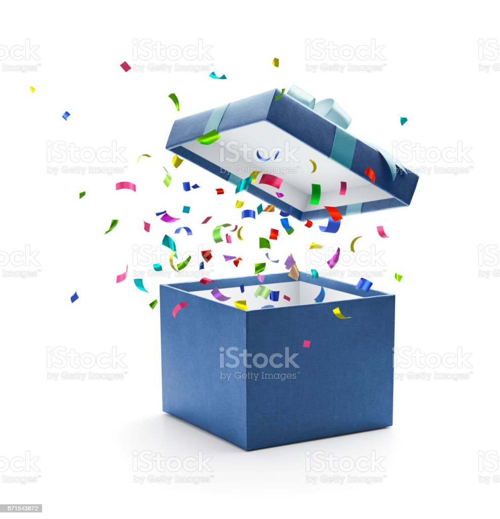 Confetti popping out from blue gift box stock photo