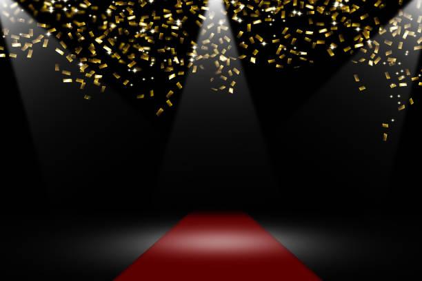 confetti rain on red carpet stock photo