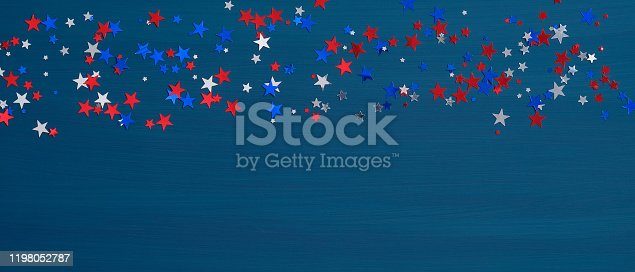 971061452 istock photo Confetti stars in American flag colors on blue background. Happy Presidents Day Banner mockup. USA Independence Day, Labor Day, Memorial Day, US election concept. 1198052787