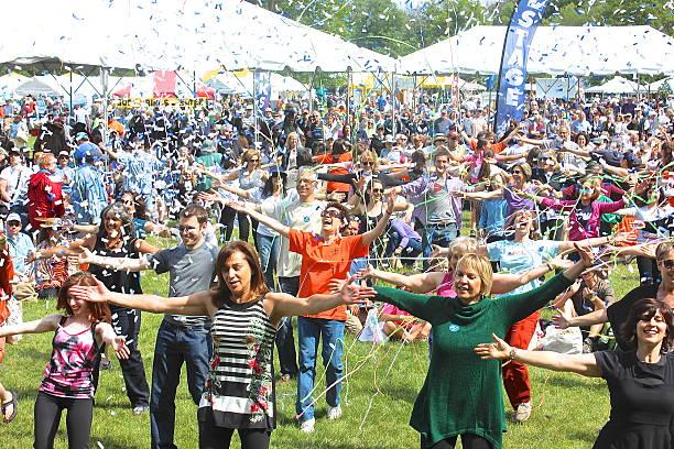 Confetti, streamers, outdoor community festival
