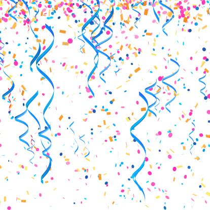 Streamers and confetti stock photos